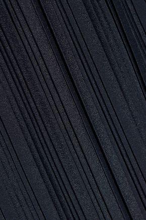 ADAM LIPPES Plissé-satin and crepe wrap skirt