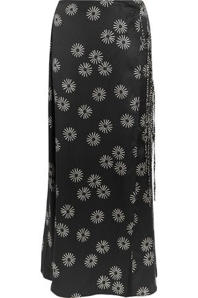 KÉJI Printed wrap-effect hammered-silk maxi skirt