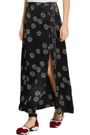 KÉJI Printed wrap-effect hammered-silk maxi skirt