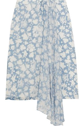 TOPSHOP UNIQUE Balfour printed silk-georgette and crepe de chine skirt