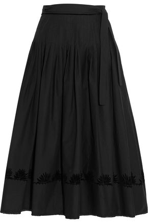 TOMAS MAIER Pleated cotton-poplin wrap skirt