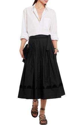 TOMAS MAIER Pleated cotton-poplin wrap skirt
