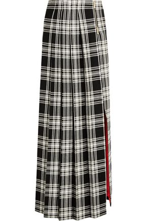 RONALD VAN DER KEMP Checked wool maxi skirt