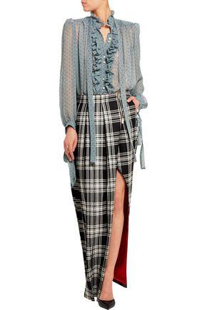 RONALD VAN DER KEMP Checked wool maxi skirt