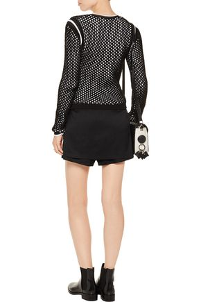 T by ALEXANDER WANG Layered stretch-silk shorts