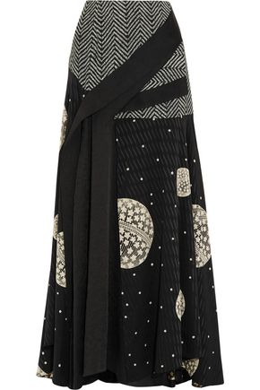 ADEAM Draped cloqué-paneled printed silk maxi skirt