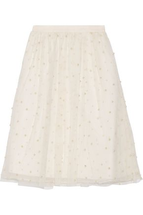 ALICE + OLIVIA Aubreanna faux pearl-embellished tulle skirt