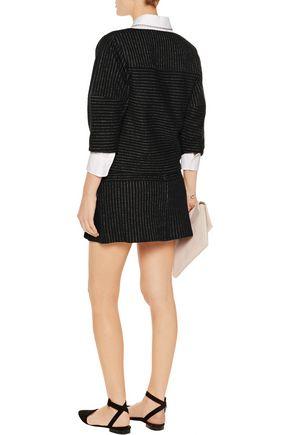 ALICE + OLIVIA Lennon striped wool and cotton-blend mini skirt