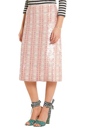J.CREW Collection sequined silk-georgette midi skirt