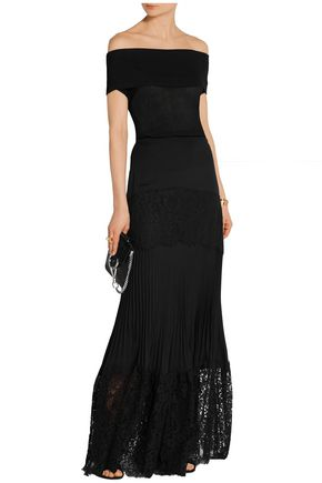 RACHEL ZOE Kate cotton-blend lace and silk crepe de chine maxi skirt