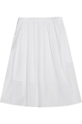MICHAEL MICHAEL KORS Pleated broderie anglaise cotton skirt