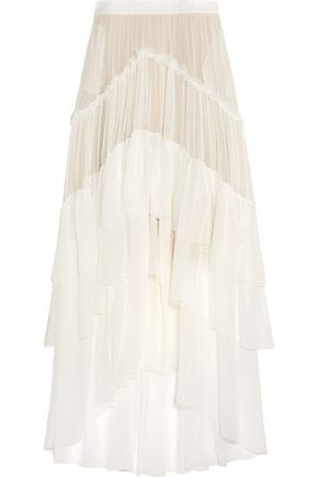 CHLOÉ Ruffled tiered silk-mousseline maxi skirt
