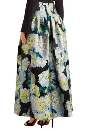 ADAM LIPPES Pleated floral-jacquard maxi skirt