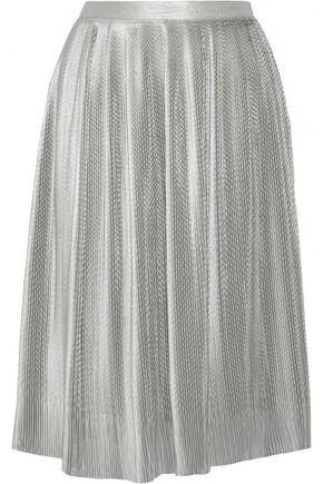 ADAM LIPPES Plissé silk-blend lamé skirt