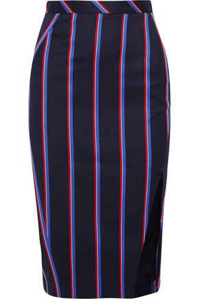 ALTUZARRA Striped wool and cotton-blend skirt