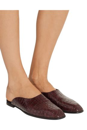 STELLA McCARTNEY Faux croc-effect leather slippers
