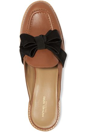 MICHAEL KORS COLLECTION Suki bow-embellished leather slippers