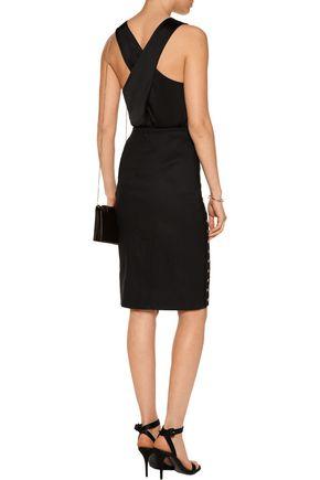 10 CROSBY DEREK LAM Grommet-embellished stretch linen-blend skirt