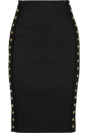 DEREK LAM 10 CROSBY Grommet-embellished stretch linen-blend skirt
