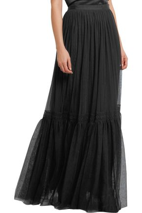 NEEDLE & THREAD Lace-trimmed tulle maxi skirt