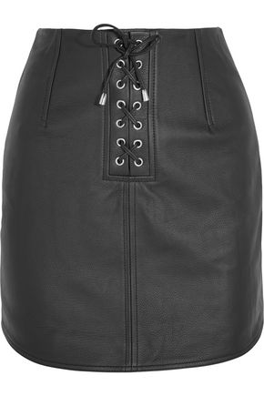 TOPSHOP UNIQUE Swinton textured-leather mini skirt