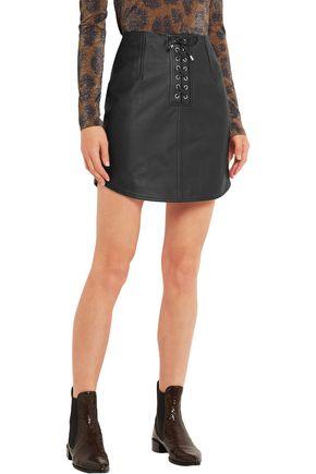 TOPSHOP UNIQUE Swinton textured-leather mini skirt
