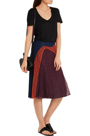 TORY BURCH Kassia paneled lace skirt