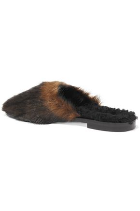 AVEC MODÉRATION Aspen faux fur and shearling slippers