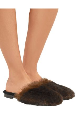 AVEC MODÉRATION Aspen faux fur and shearling slippers