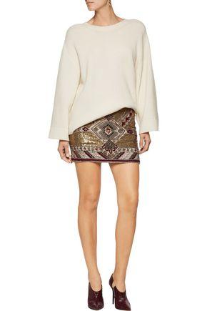 ALICE + OLIVIA Elana embellished crepe mini skirt