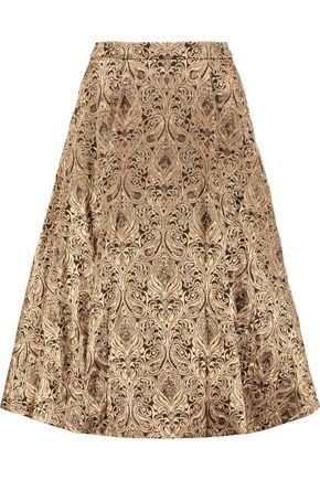 ALICE + OLIVIA Rachelle embellished metallic jacquard skirt