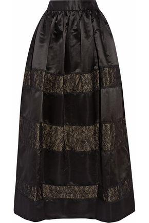 ALICE+OLIVIA Prima lace-paneled satin maxi skirt
