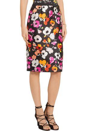 OSCAR DE LA RENTA Floral-print silk and cotton-blend gazar skirt