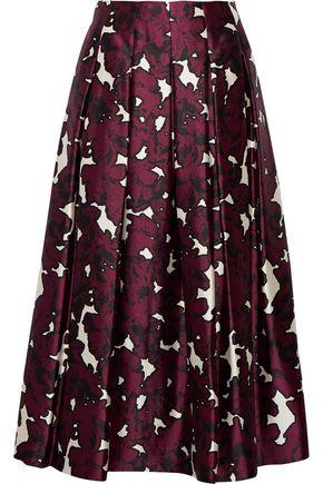 OSCAR DE LA RENTA Floral-print pleated silk-satin skirt
