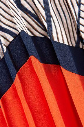 DIANE VON FURSTENBERG Saphira pleated chiffon-trimmed printed crepe de chine skirt