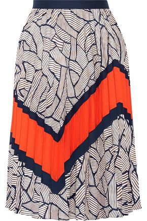 DIANE VON FURSTENBERG Saphira pleated printed crepe de chine skirt