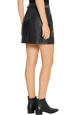 ALEXANDER WANG Zip-embellished lizard-effect leather mini skirt