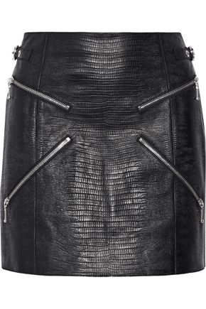 ALEXANDER WANG Zip-embellished lizard-effect leather mini skirt
