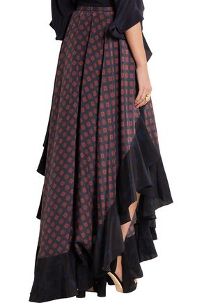LANVIN Asymmetric ruffled printed silk maxi skirt