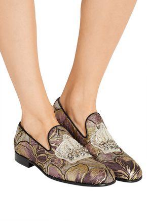DOLCE & GABBANA Embellished jacquard slippers