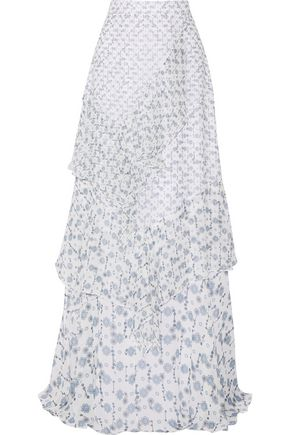 PETER PILOTTO Tiered printed silk-georgette maxi skirt
