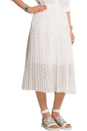 TIBI Sunray pleated checked jacquard midi skirt