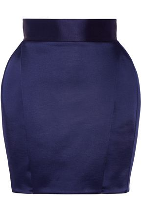 BALMAIN Pleated satin-faille mini skirt