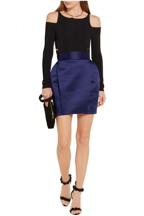 BALMAIN Pleated satin-faille mini skirt