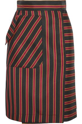 TOMAS MAIER Striped satin-twill skirt