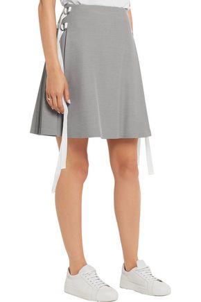 ADEAM Pleated stretch-crepe mini skirt