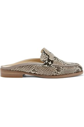 ALEXANDRE BIRMAN Leather-trimmed python loafers