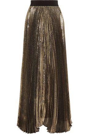 ALICE + OLIVIA Katz plissé silk-blend lamé maxi skirt