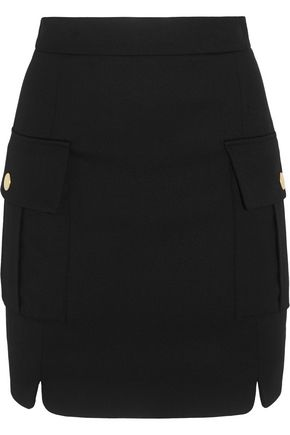 PIERRE BALMAIN Button-embellished stretch-twill mini skirt