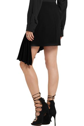 MUGLER Asymmetric pleated crepe mini skirt
